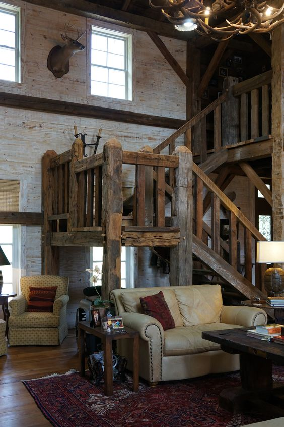 Barn homes barns and stairs on pinterest for Barn loft homes