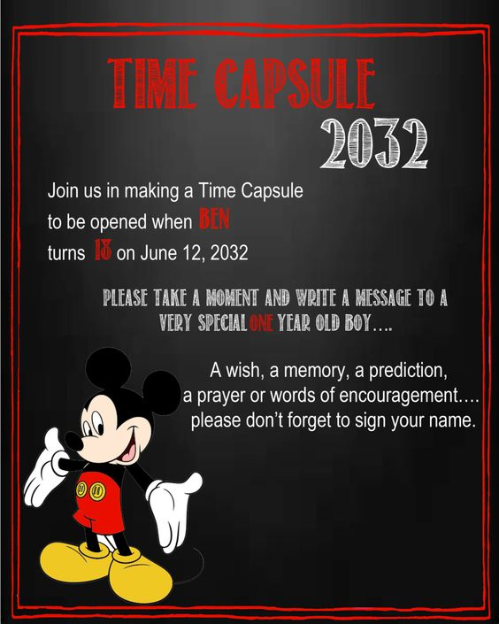 Time Capsule Quotes: Mickey Mouse Time Capsule Sign For A First Birthday