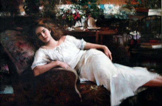 In the Quiet of Afternoon 1991 31x44 by An He
