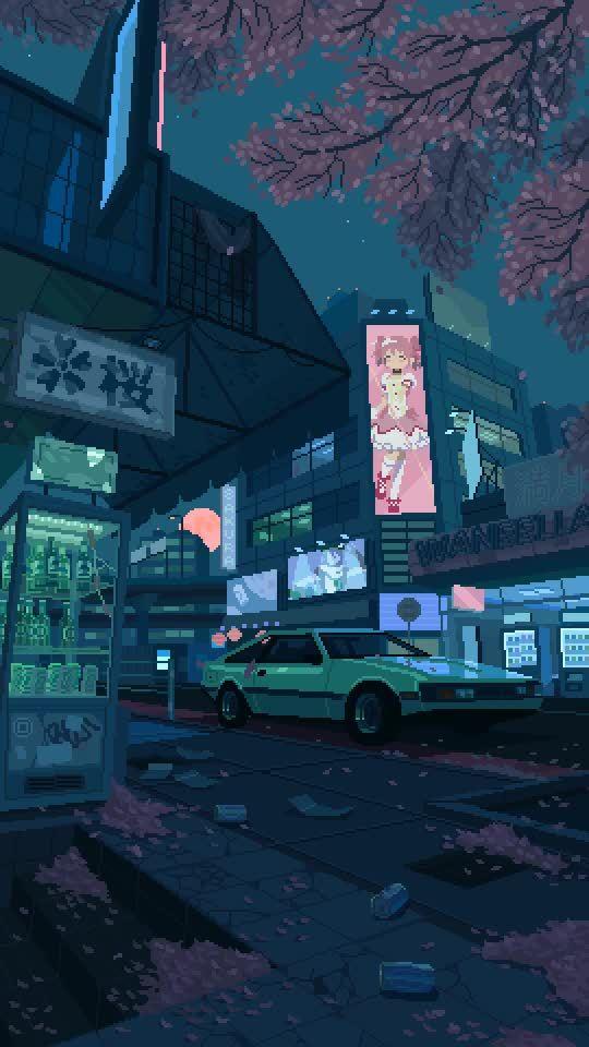 Japan Sakura Night By Waneella Gifs Pixel Art Background Pixel Art Art Wallpaper