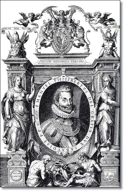 Turim, Filippo Juvarra no início do século XVIII. Esquerda: Emmanuel Philibert (1528-1580) foi capaz de reviver as fortunas dos domínios Savoia na temporada de lutas entre a França de Francisco I e Henry II e O Império de Charles V (Arquivos do Estado de Turim).