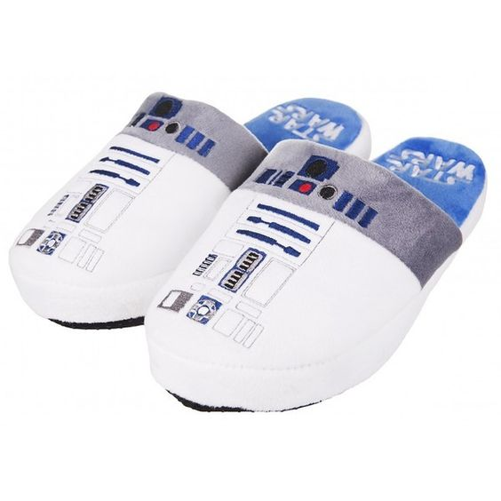 Star Wars R2-D2 Slip On Slippers ($15) ❤ liked on Polyvore featuring shoes, pull on shoes, r2, r2 shoes, slipon shoes and slip on shoes