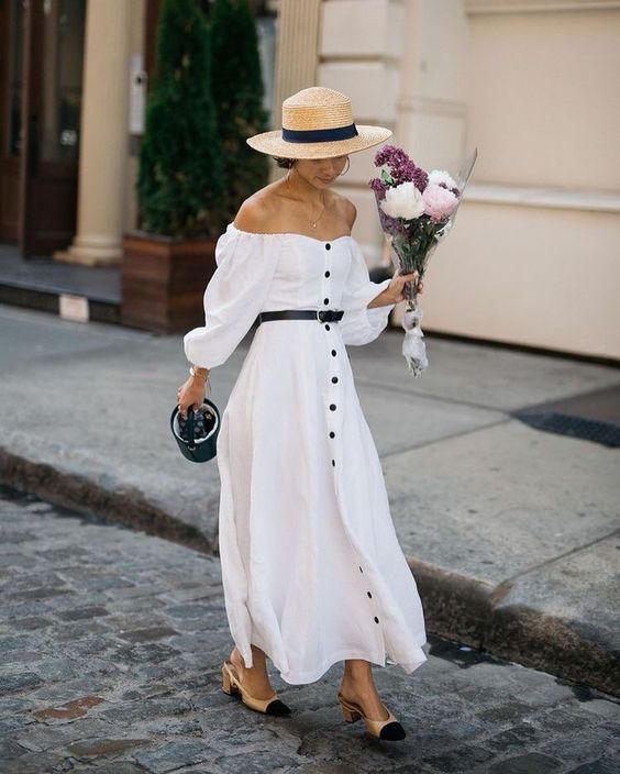 White maxi dress, Chanel two-toned shoes