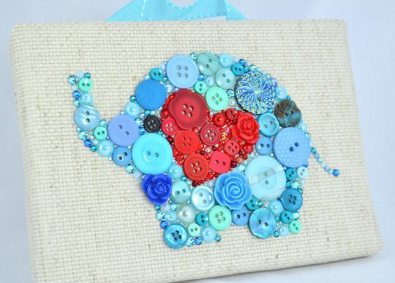 Button Art, Painted With Buttons Blue Elephant - Button Art, Vintage Buttons by PaintedWithButtons, $65.00