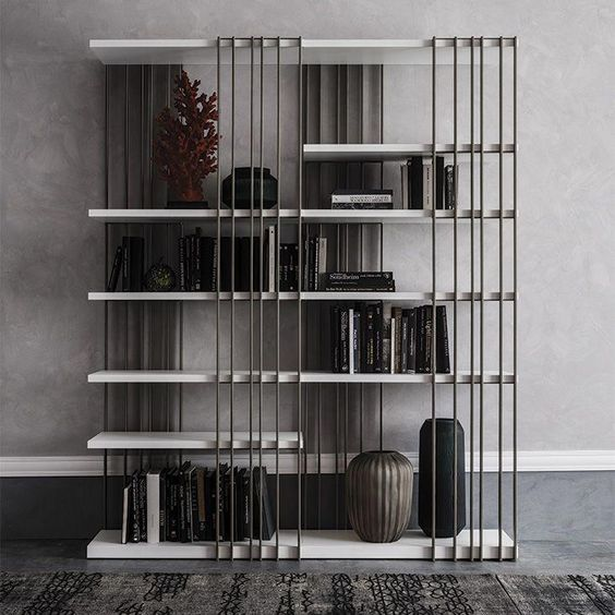 arsenal | bookcases - Modular bookcase with frame in titanium (GFM11), white (GFM71), black (GFM73) or graphite (GFM69) embossed lacquered steel. Shelves in Canaletto walnut (NC) or burned oak (RB) or embossed white (GF71) or graphite (GF69) painted wood. The frame can be assembled right or left (as one wants). #furnitureaccessories