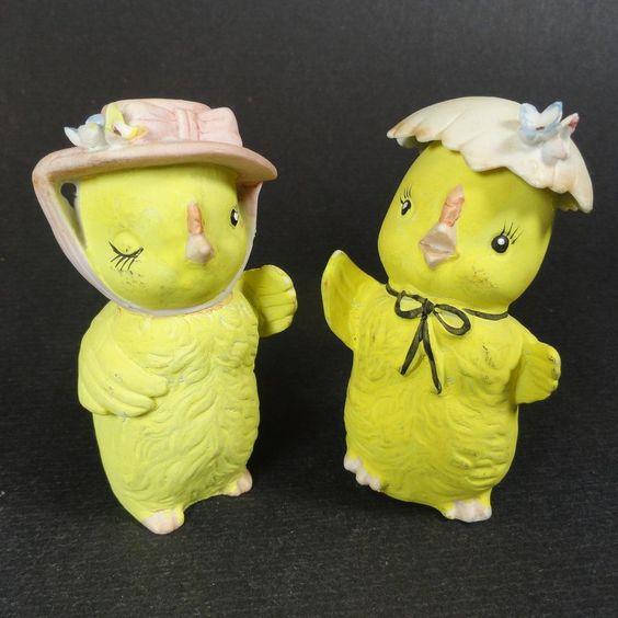 Porcelain Lefton Chick Salt & Pepper Shakers w Bonnets http://www.rubylane.com/item/32692-SP-477/Porcelain-Lefton-Chick-Salt-Pepper