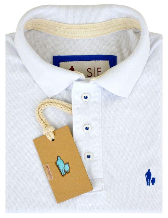 Camisa Polo SheepFyeld Branca Abertura Lateral Colorida