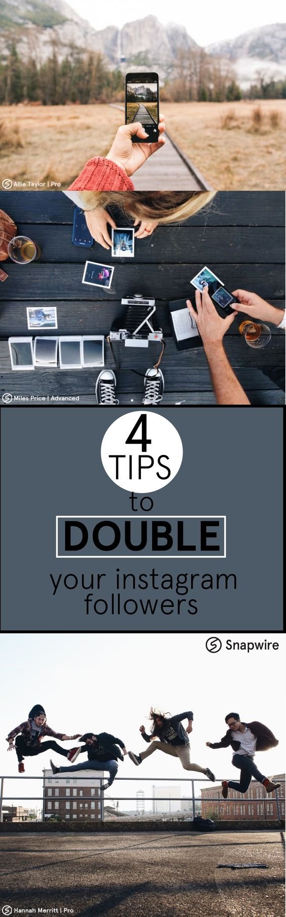 Follow these 4 steps to double your Instagram followers in a week!  https://snapwire.squarespace.com/blog/2016/2/19/want-to-gain-1000-followers-a-week-check-out-these-4-tips