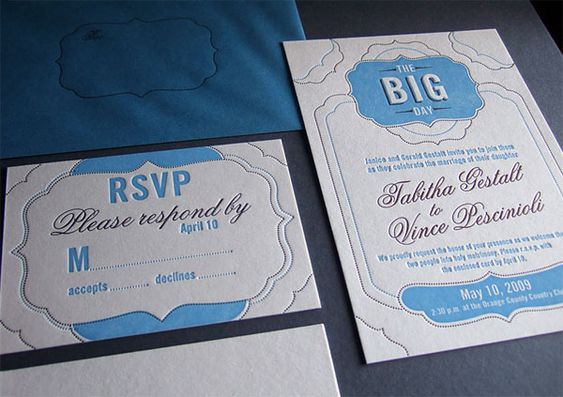 This one here is pretty interesting. It's an RSVP for a wedding. The card is designed in a very minimalistic way and has a very retro feel to it. Not really abstract but more like something you'd see in the 30's or 40's, I wish I knew the actual name for it. The only things I dislike are the colors and the tilt of the names of those being married. It kinda feels like an invite for a baby shower than a wedding.