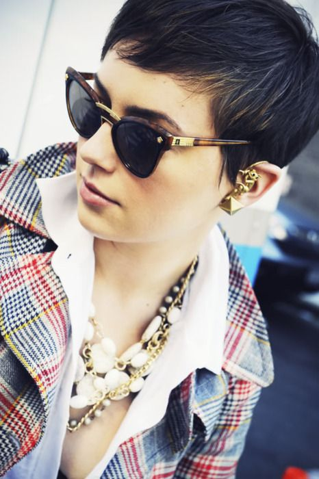 These accessories are amazing! Way to work that short hair!