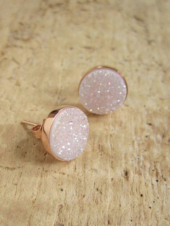 Super cute--NEW Natural Druzy Rose Gold Studs Titanium Drusy Quartz Earrings Rose Gold Vermeil Bezel Set: