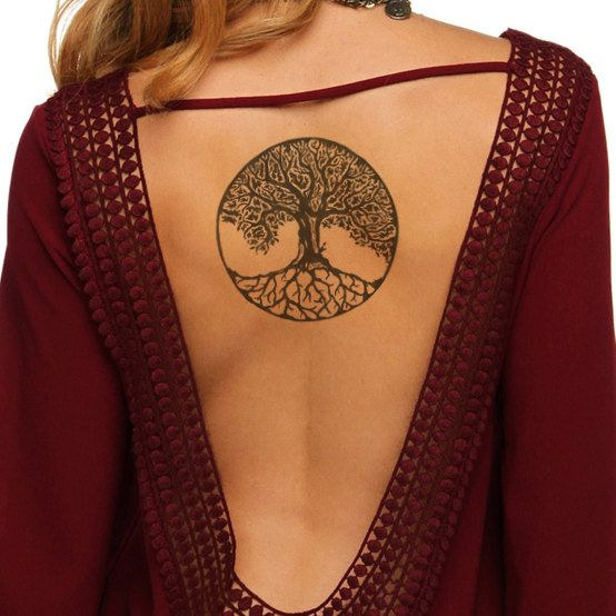 This set includes: 2 x Celtic Tree of Life Temporary Tattoos Size:  8 x 8 cm // 3.1 x 3.1   Color: Black  Tattoos are easy to apply, but will