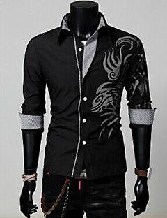 Camisa Casual ( Mistura de Algodão ) MEN - Casual Colarinho de Camisa - Manga Comprida
