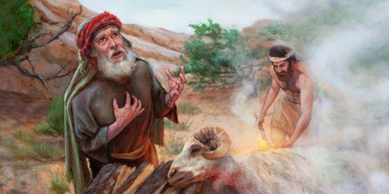 Abraham et Isaac sacrifiant un bélier fourni par Jéhovah.