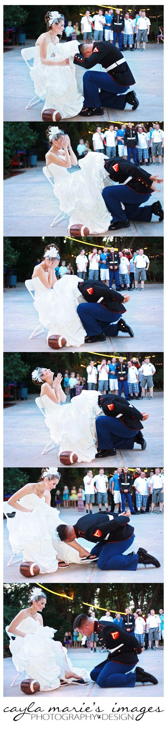 Cayla Marie's Images caylamariesimages.wordpress.com Garter Toss, Football Garter Toss, Marine Wedding, Outdoor Wedding, Laughing, Wedding Dress