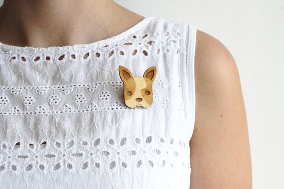 Laser Cut Wooden French Bulldog Brooch/ Boston by GingerPickle1