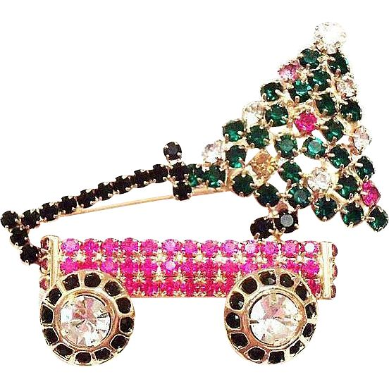 Lovely Christmas Rhinestone Tree & Toy Wagon Pin
