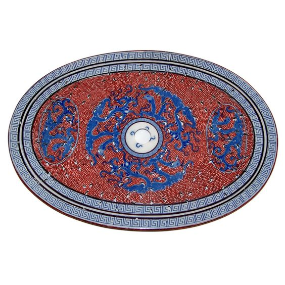 Antique Pierced Oval Red white and Blue with Greek Key Border and Dragons 1