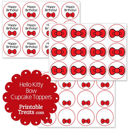 Free red hello kitty bow cupcake toppers from for Hello kitty cupcake topper template