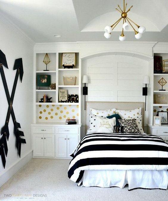 Teen Girlu0027s Room   Gray Striped Walls, Black And White Bedding | Kidsu0027 Rooms  | Pinterest | Gray Striped Walls, Striped Walls And White Bedding