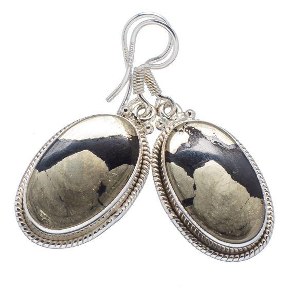 "Pyrite In Magnetite (healer's Gold) 925 Sterling Silver Earrings 1 1/2"" EARR314765"
