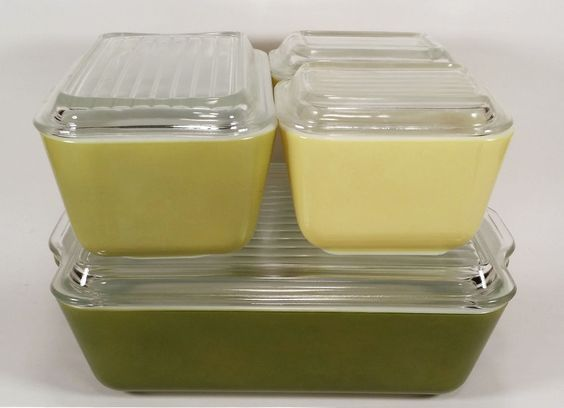 VINTAGE PYREX REFRIGERATOR FRIDGE DISH SET LARGE MEDIUM SMALL LIDS YELLOW GREEN…  I got 2 like these at an estate sale in Grand Ledge, MI on 09/09/16. A small yellow one for 5.00 & larger light green one for 8.00