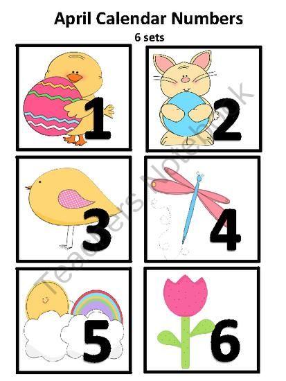 April Calendar Numbers : April calandar numbers from funteach on teachersnotebook