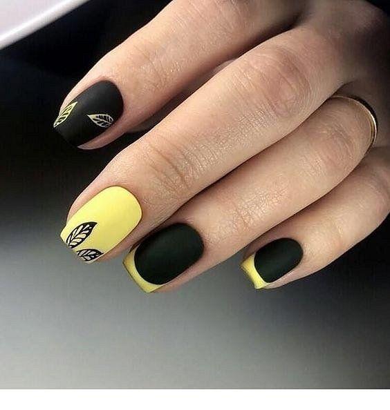 Идеи желто черного маникюра