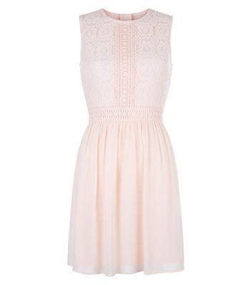 Teens Pink Lace Panel Chiffon Dress