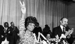 Shirley Chisholm was the first black woman to be elected to Congress, winning in New York in 1968 and retiring from office in 1983. She campaigned for the Democratic presidential nomination in 1972, but is best known for her work on several Congressional committees throughout her career. A feisty politician, Chisholm has also been recognized in popular culture and in the political and academic worlds for her symbolic importance and career achievements