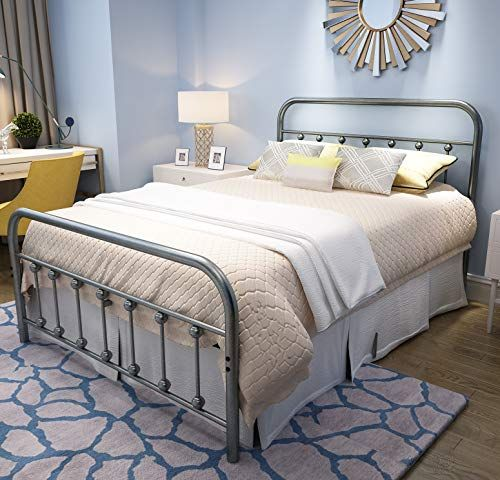 Yalaxon Vintage Sturdy Full Size Metal Bed Frame With Headboard And Footboard Basic Bed Frame No Box Spring Needed Gray Silver In 2020 Bed Frame And Headboard Basic Bed Frame Full