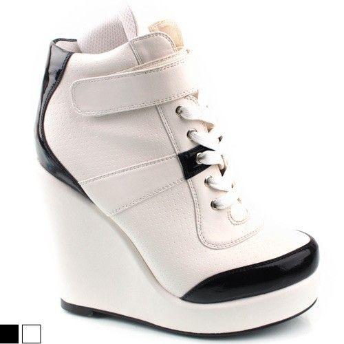 shoesone womens korean 2ne1 high top white wedge platform