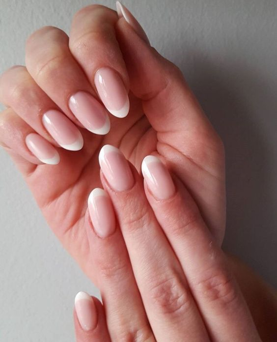 Natural French tip acrylic nails, oval shaped | Hair ...