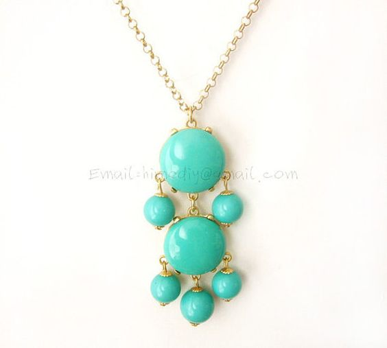 Aqua 2 stone Bubble Tassel Necklace by himediy, $10.00