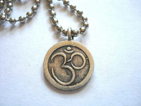 Hill Tribe Silver Ohm Dog Tag Necklace Free by peaceofminejewelry, $25.00