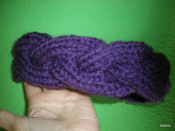 Diadema en forma de trenza tejida a mano tejer lanas - Puntos para calcetar ...