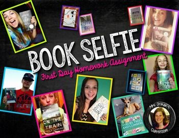 "Have students search the library catalog for a favorite book/author and take a ""Book Selfie"" - It will not only help you get to know your students' names, but will offer an opportunity for peers to recommend their favorite books to their classmates in a format they love: selfies!:"