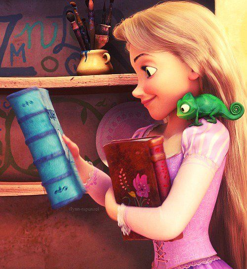 Afbeeldingsresultaat voor rapunzel read a book or maybe two or three