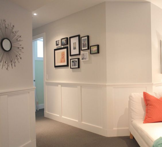 beach house in the city: room tour: basement family room!-Benjamin moore silver satin