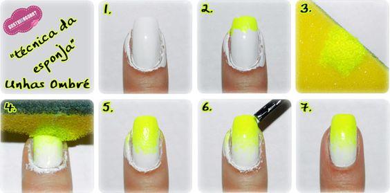 Unhas Ombré Neon: Branco e Amarelo
