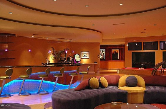 Lighting finished basements and caves on pinterest for Homes with basements in arizona