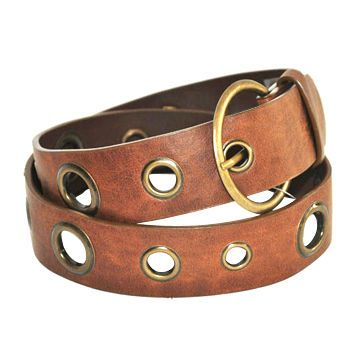 PU Belt with Metal Studs and Zinc Pewter Buckle