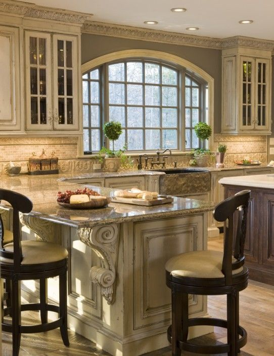 Ornate French Country Kitchen Cabinets To Ceiling And Scroll Trim Sink Island Cabinet Color