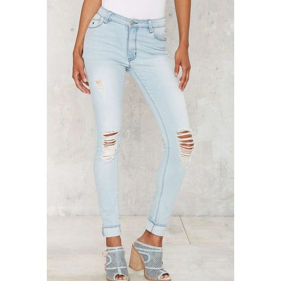 RES Denim Kitty Skinny Jeans (300 RON) ❤ liked on Polyvore featuring jeans, slim jeans, destroyed jeans, light blue skinny jeans, stretch jeans and destructed skinny jeans
