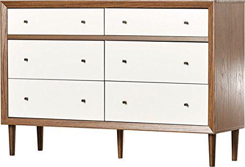 6 Drawer Dresser Made Of Manufactured Wood And Solid Wood Smooth Drawer Runner Mid Century Modern Design Dresser Dresser Drawers Furniture Double Dresser