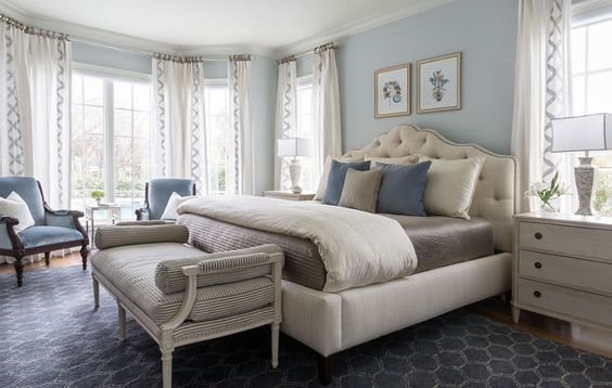 Blue bedroom. Blue bedroom paint color and decor. Blue bedroom ideas #Bluebedroom Heather Scott Home & Design: