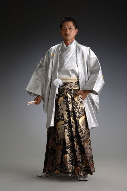Men's contemporary ceremonial dress, with kimono, haori and hakama. Japan