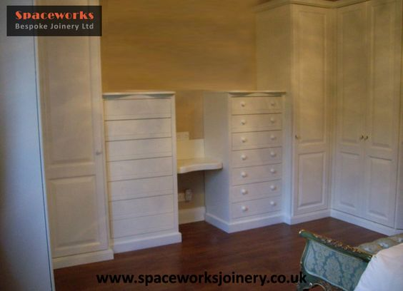 bespoke customer built white finished dressing table and fitted wardrobes