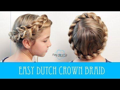 Easy Dutch Crown Braid No Bobby Pins Youtube Braided Hairstyles Easy Crown Braid Hair Styles
