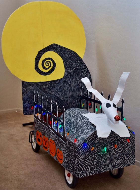 The wagon I decorated for our son who dressed up as Jack Skellington from The Nightmare Before Christmas for Halloween :):